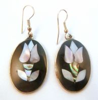 Vintage Alpaca Silver Mother Of Pearl Inlay Floral Earrings.